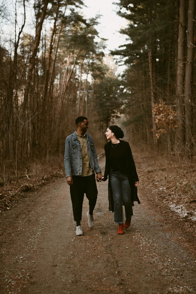 Engagement Photos in the Forest at Peach Mountain in Dexter, MI | Zaina & Husain