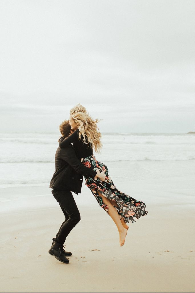 Windy Beach & Cliff Engagement Session in San Diego, CA | Kelsey & Tanner