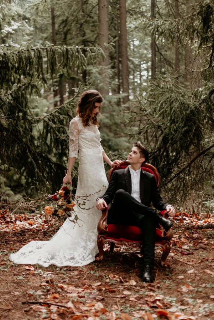 Victorian-esque Forest Elopement Inspiration in Mount Tabor, OR | Devin & Jess