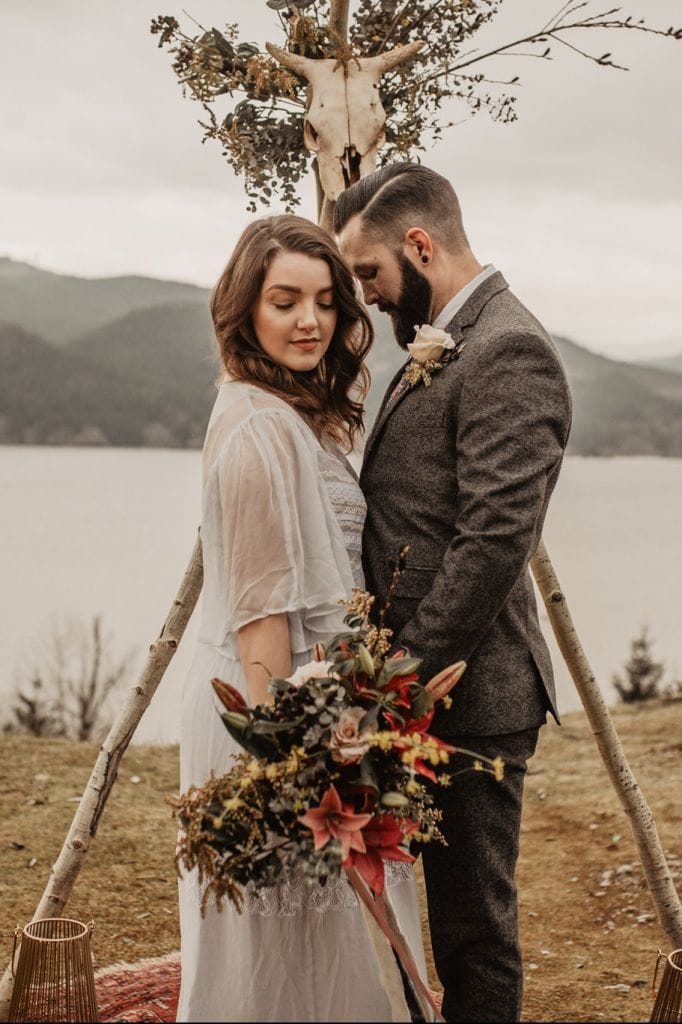 Woodsy, Moroccan Inspired Elopement Session at the Columbia Gorge, WA | Stephanie & Dallas