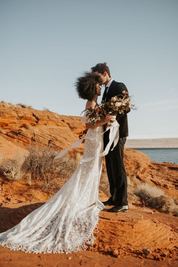 Windy Red Rock Desert Elopement Inspiration At Sand Hollow State