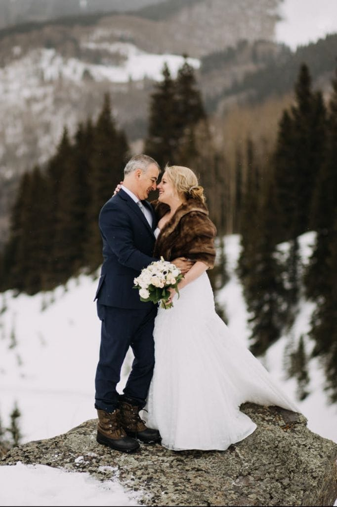 Winter Snowstorm Mountain Elopement in Telluride, CO | Angela & Peter