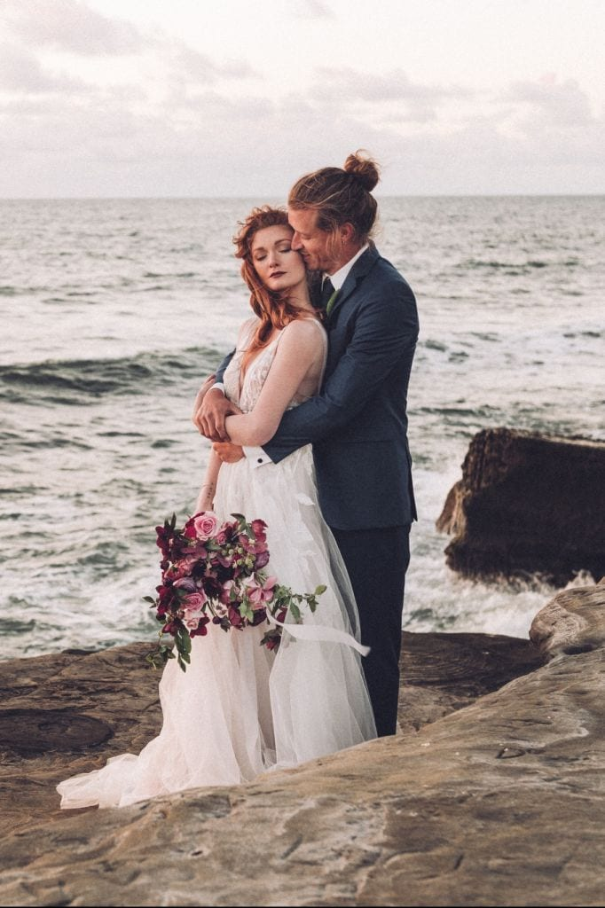 Rosy Sunset Cliffs Elopement Inspiration Session in San Diego, CA | Christian & Lee