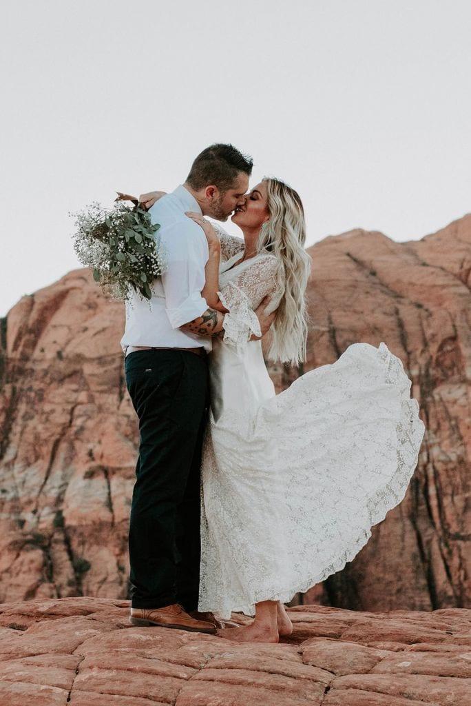 Adventurous, Vintage Elopement in Snow Canyon, UT | Kim & Dustin