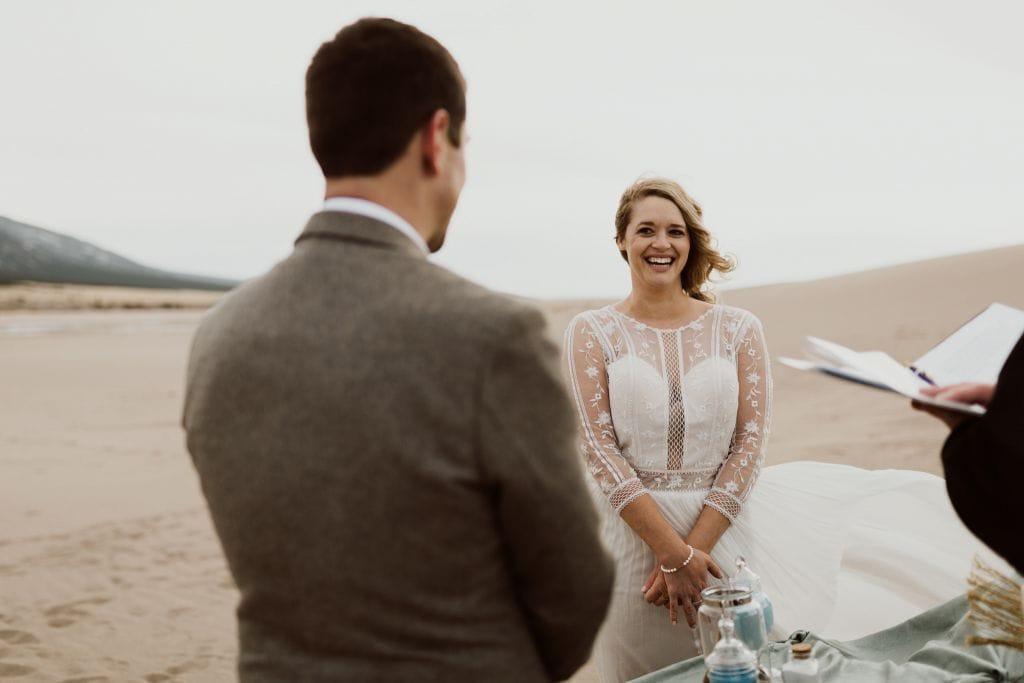great sand dunes national park colorado winter elopement wedding