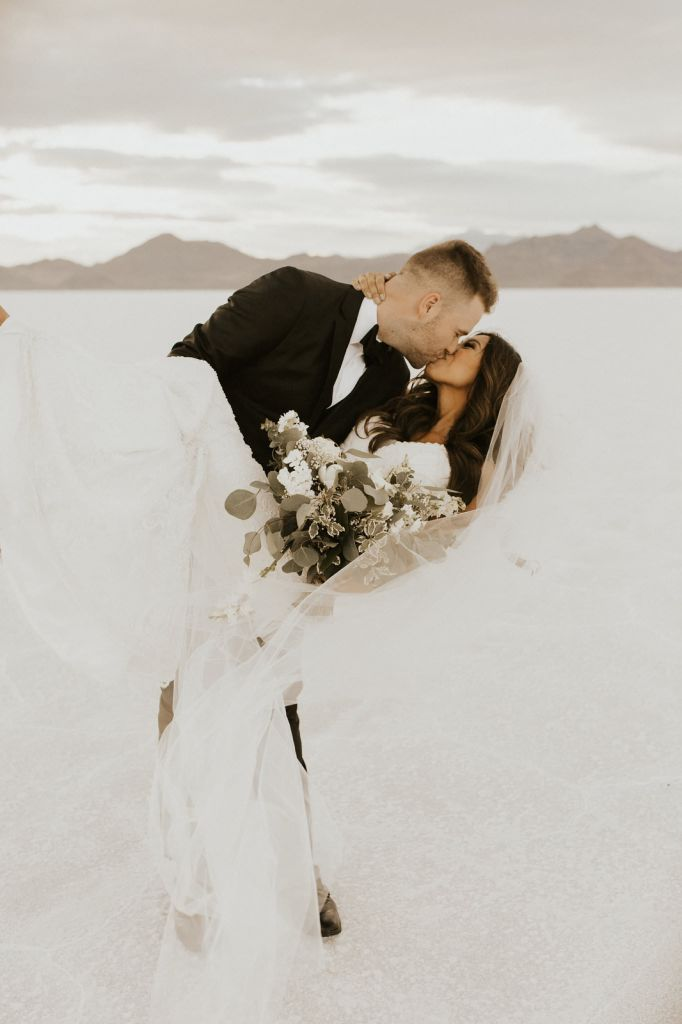 Dazzling First Look and Bridal Portraits at Bonneville Salt Flats, UT | Brandi & Morgan