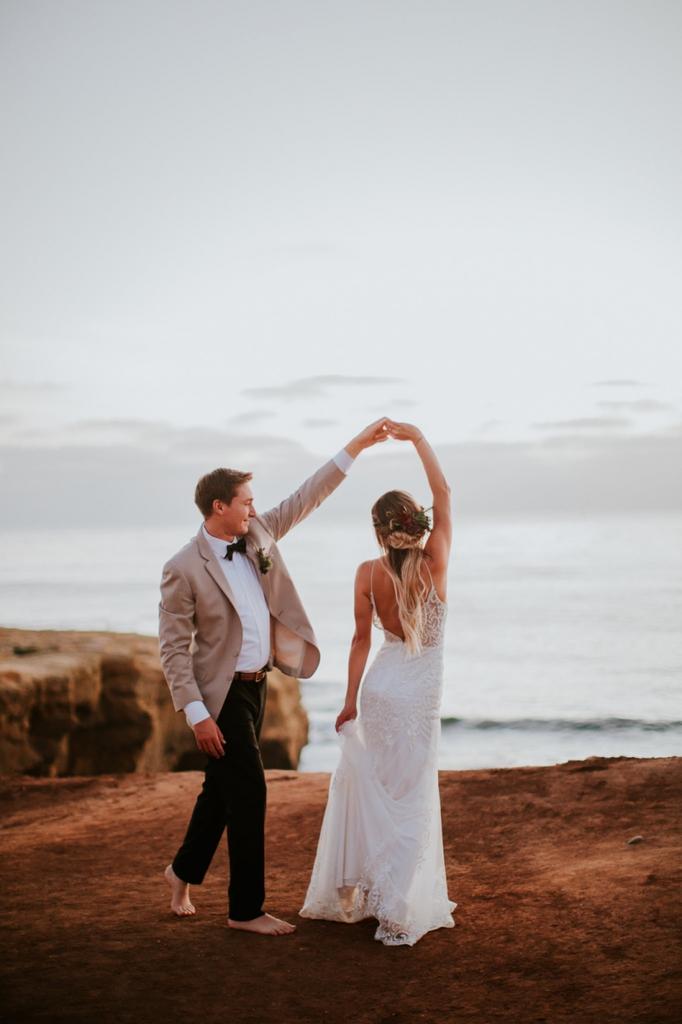 beachfront styled elopement sunset cliffs ocean beach san diego california