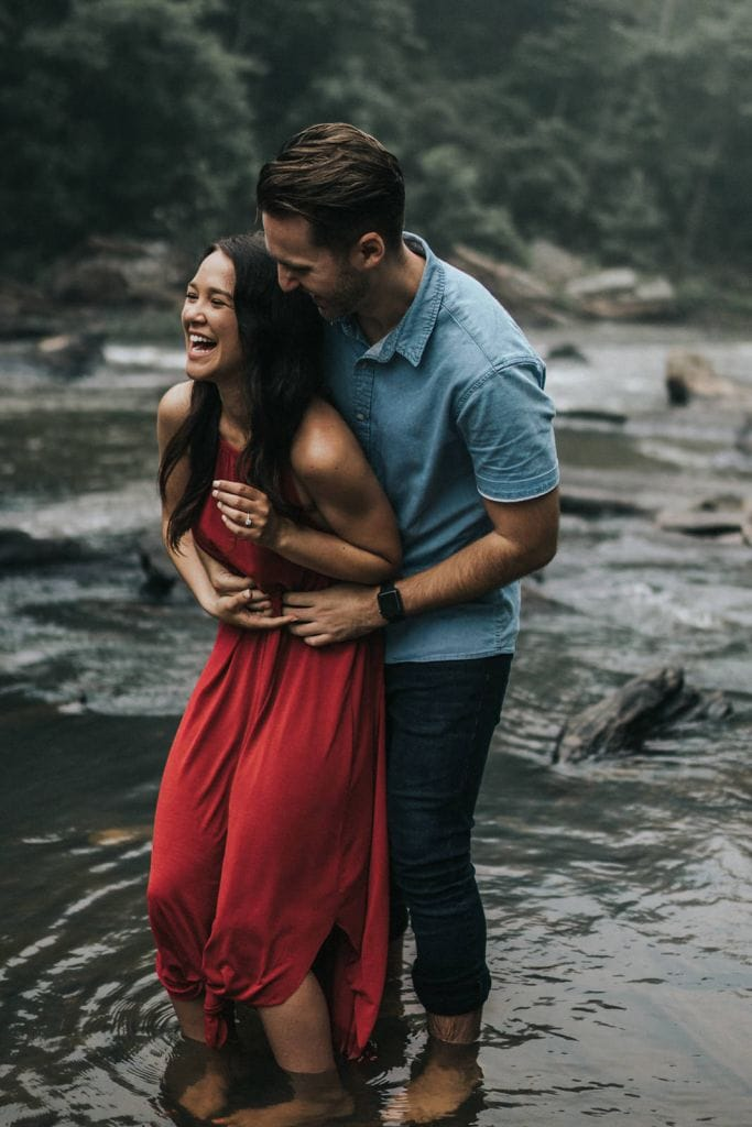 Moody, Foggy River Engagement Session in Sweetwater Creek State Park, GA | Bryna & Will