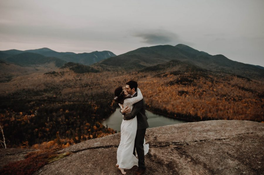 Mountaintop elopement in the ADKs, Lake Placid, New York with fall foliage