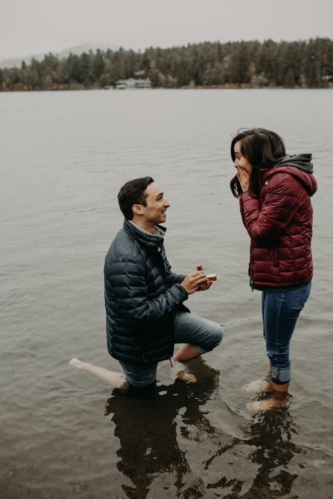 Adorable Lake Proposal & Engagement Session in Lake Placid, NY | Melanie & Josh