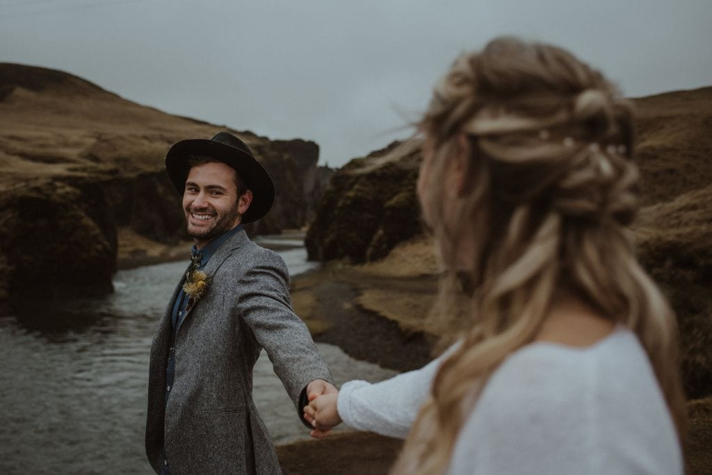 southern iceland waterfall elopement adventure wedding