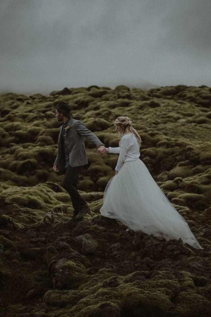 southern iceland waterfall elopement wedding