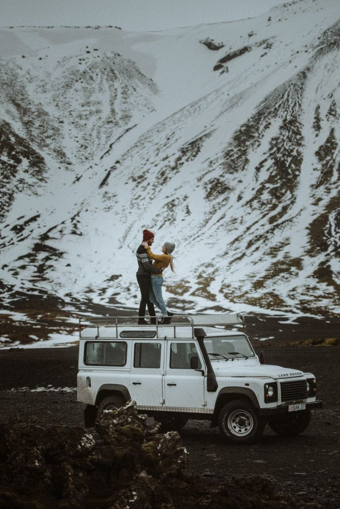 Adventurous Waterfall Engagement Session in Iceland | Anne Sophie & Laurent