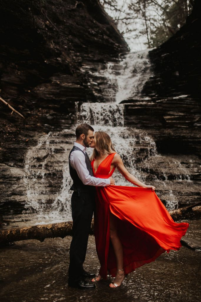 Waterfall Styled Engagement Photos in Orchard Park, NY | Tracy & Tony