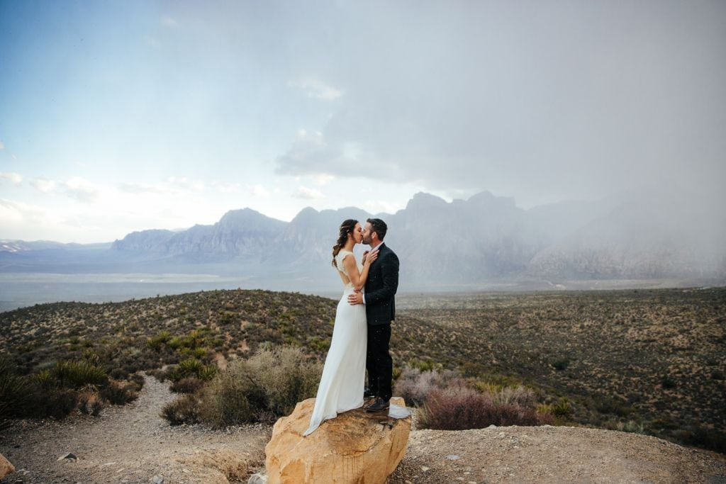 mount charleston red rock canyon nevada winter elopement adventurous wedding