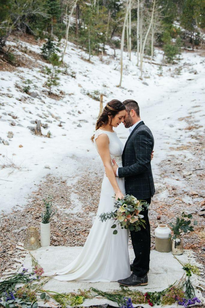mount charleston red rock canyon nevada winter elopement adventurous wedding