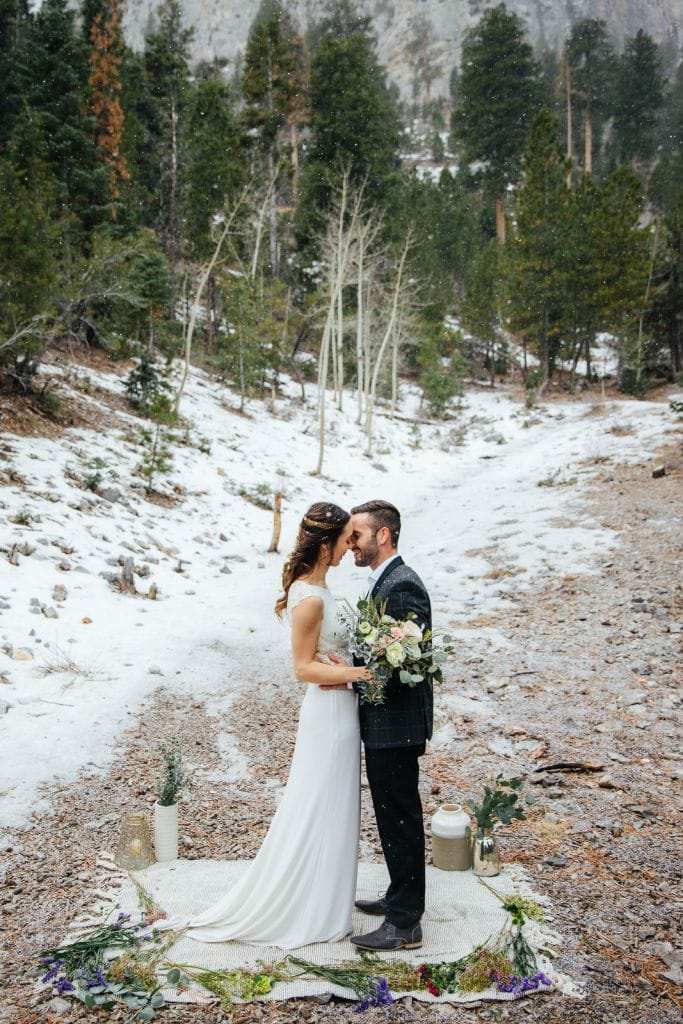 Wintry Mount Charleston and Red Rock Canyon Elopement near Las Vegas, NV | Kayla & Blake