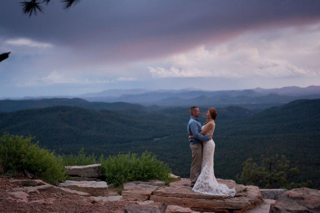 northern arizona mogollon rim elopement adventure wedding
