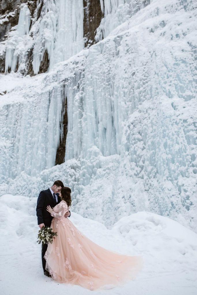 winter snow adventurous mountain elopement wedding