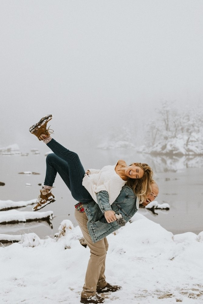 Snowy Engagement Session at Rocky Mountain National Park, CO | Rachel & Joey