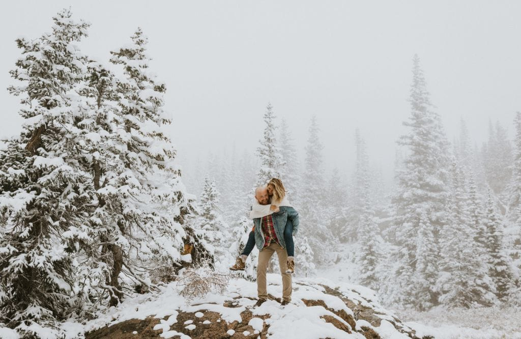 winter snow engagement session rocky mountain national park colorado