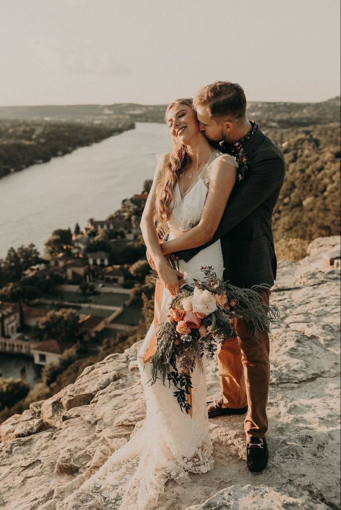 boho mount bonnell austin texas sunset mountain elopement wedding