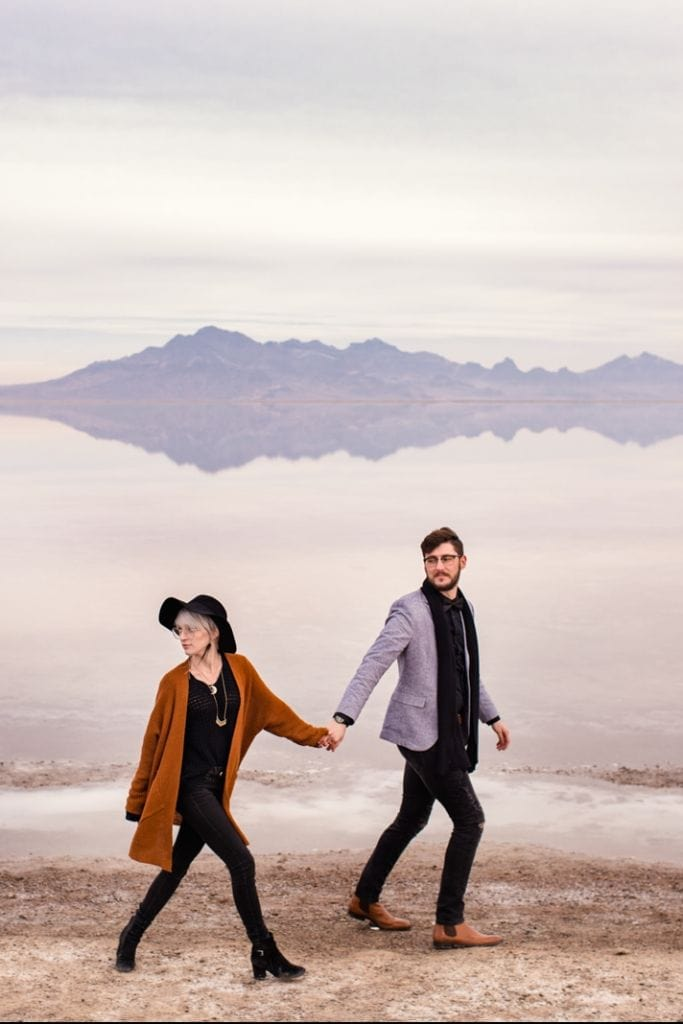 Enchanting Bonneville Salt Flat Engagement Session in Utah | Christie & Brandon