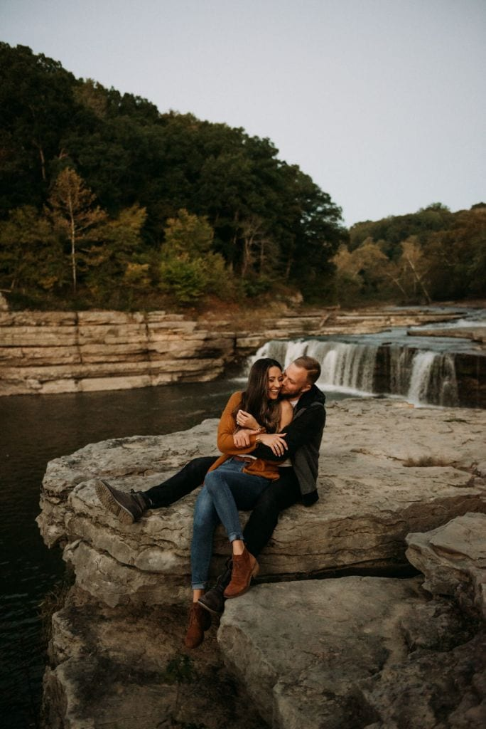 Adorable Waterfall Engagement Session at Cataract Falls, Indiana | Hayley & Kyle