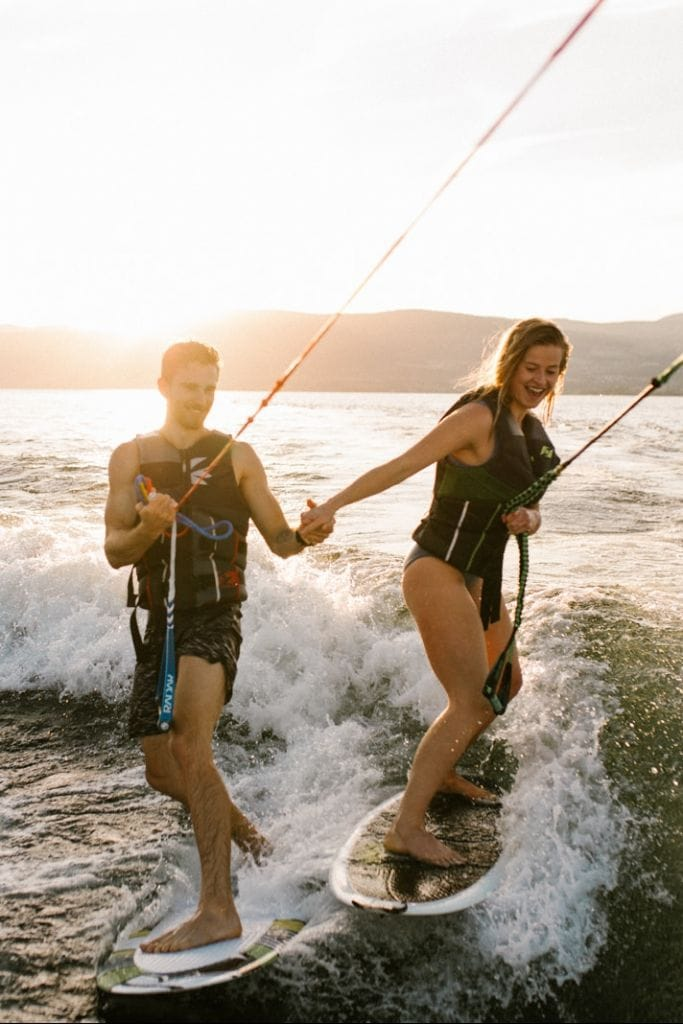 Adventurous Wakeboarding Couples Session in Kelowna, British Columbia | Aleka & Drew