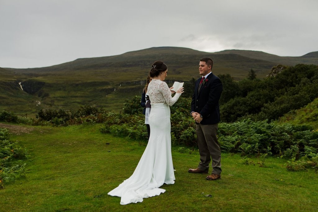 bride reading her vows during elopement ceremony