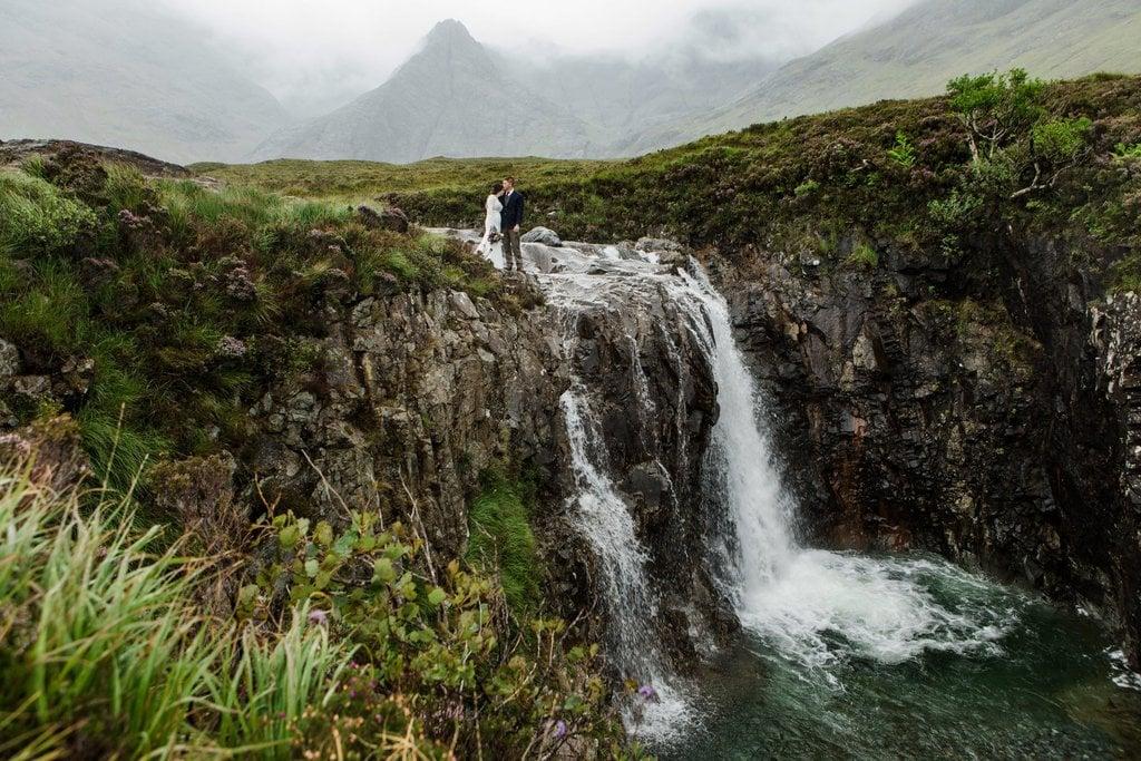 Romantic elopement waterfall