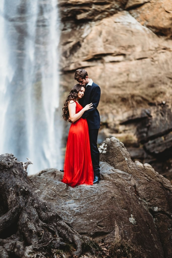 toccoa falls georgia waterfall engagement