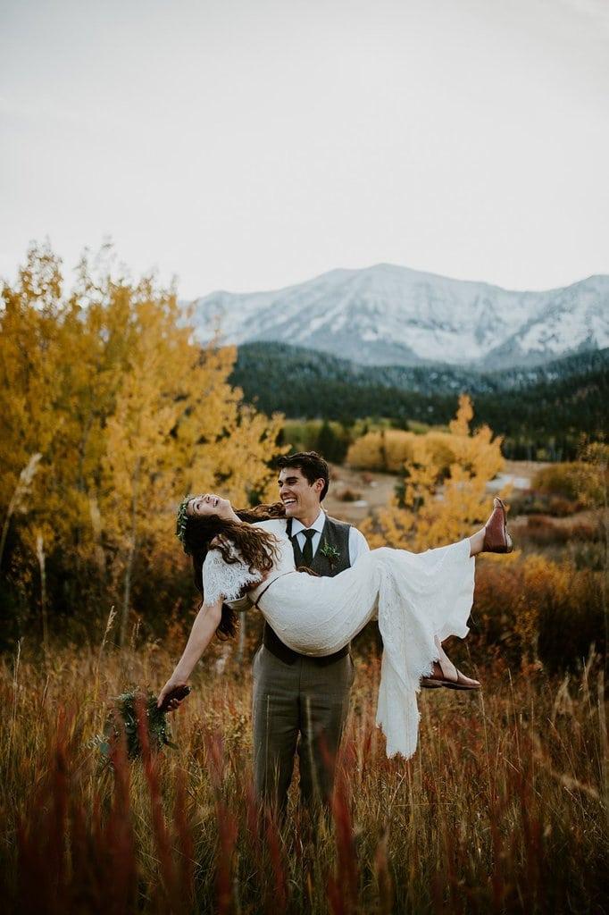 Intimate Bohemian Style Mountain Wedding in the Bridger Mountains | Grace & Ben