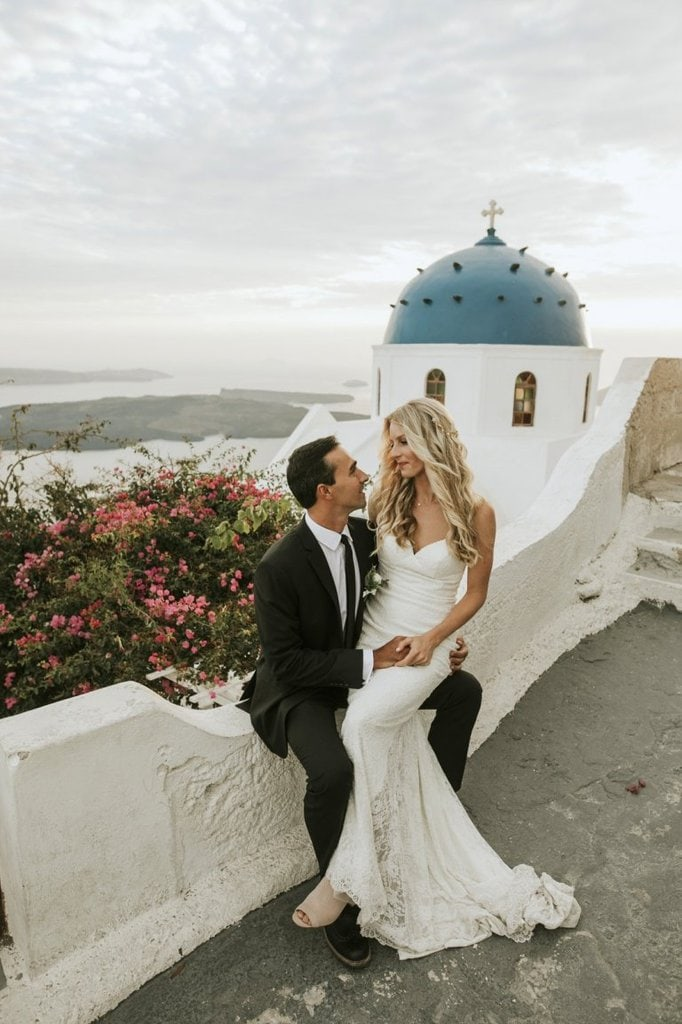 santorini island greece sunset elopement wedding