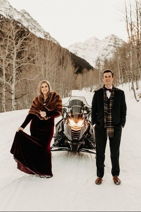 Snowmobile Adventure Engagement Session in Aspen, CO