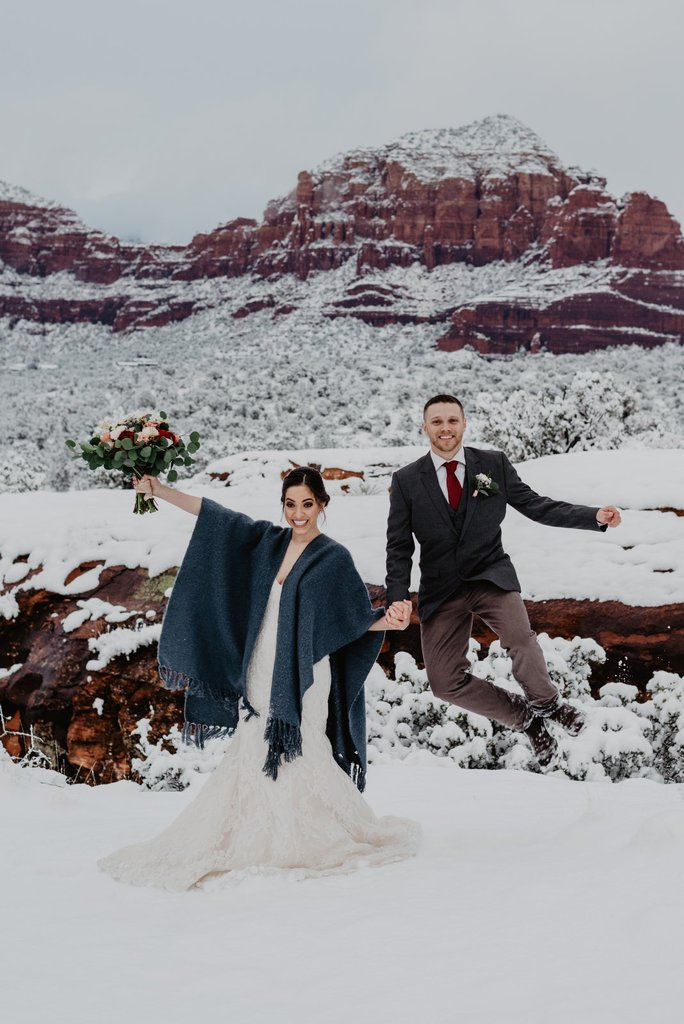 Winter Wonderland Elopement Inspiration Session in Sedona, AZ