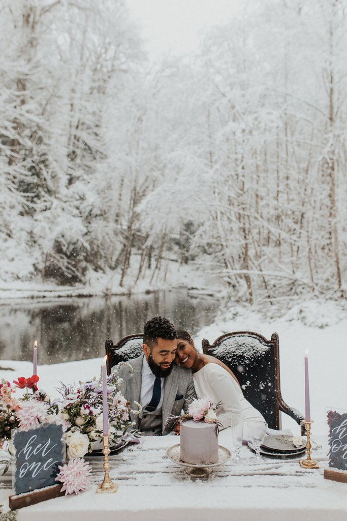 Magical Snow-covered Elopement Inspiration in Bellevue, WA