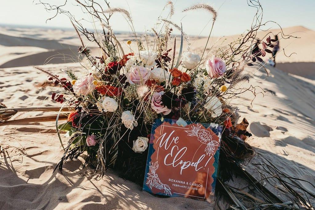 floral detail elopement