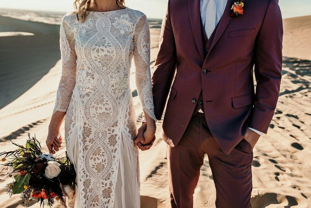 bohemian elopement wedding attire