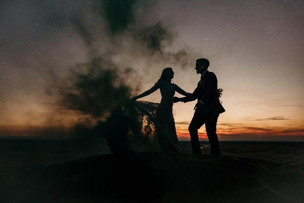 sunset sand dunes elopement