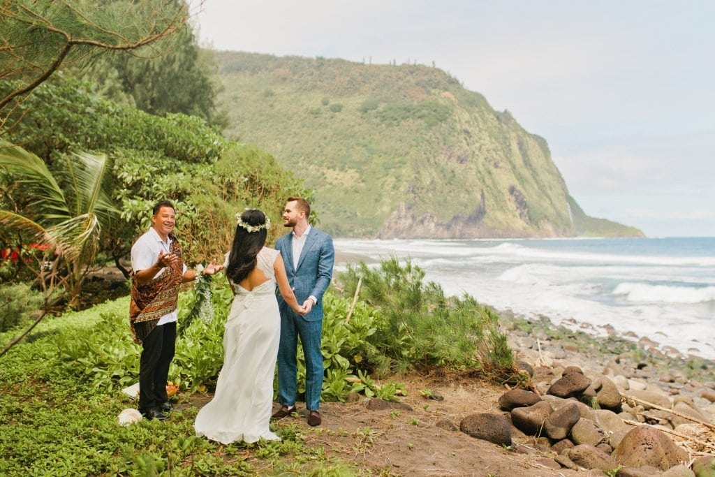 Hawaii elopement package at waipio valley big island hawaii elopement adventure wedding