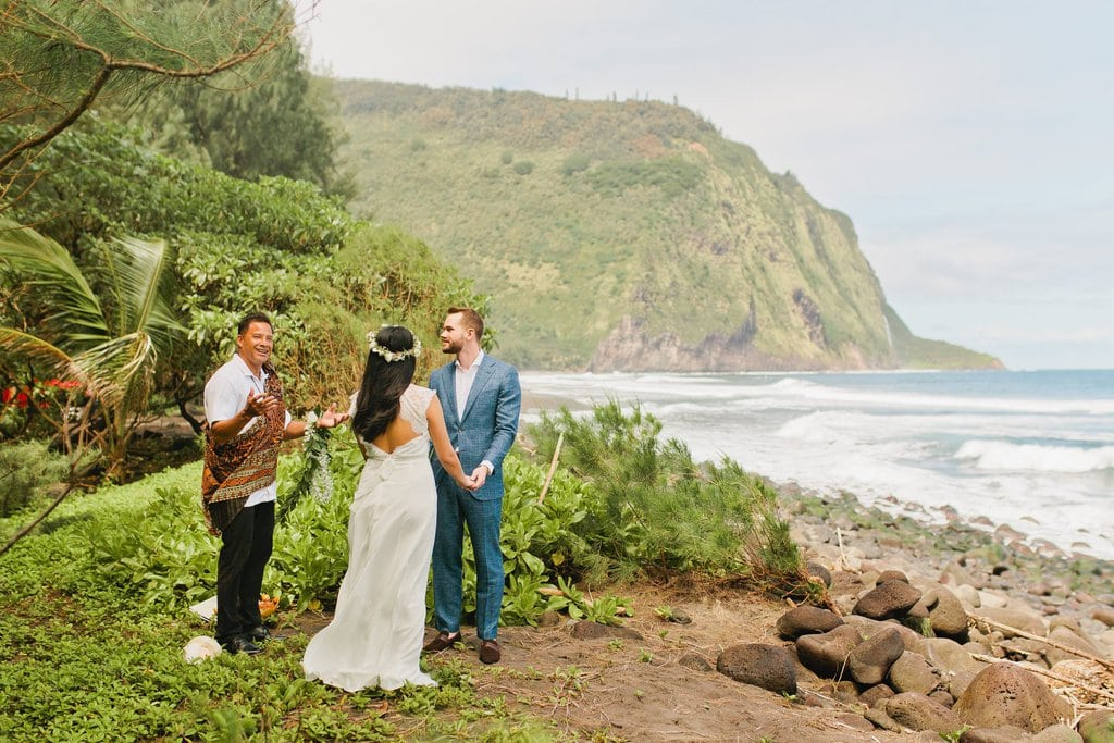 Hawaii elopement package at waipio valley big island hawaii elopement adventure wedding
