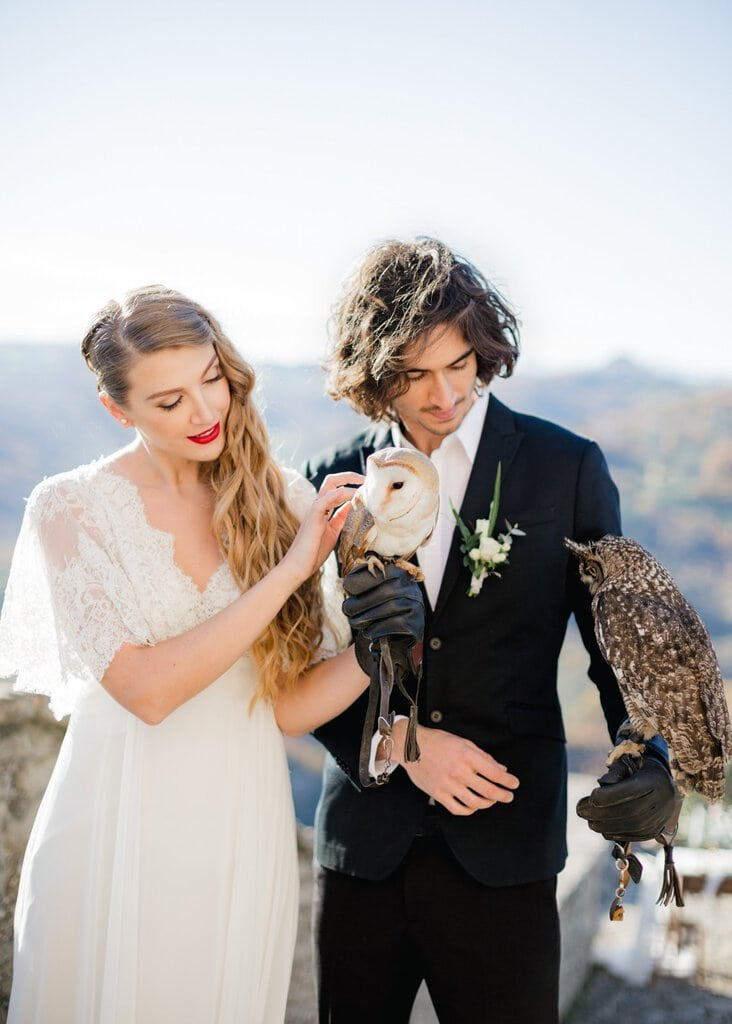 bride and groom with owls.