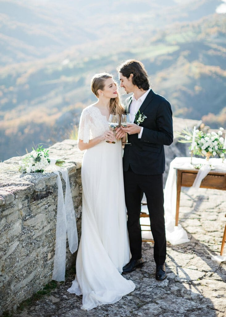 intimate styled wedding in Italy.