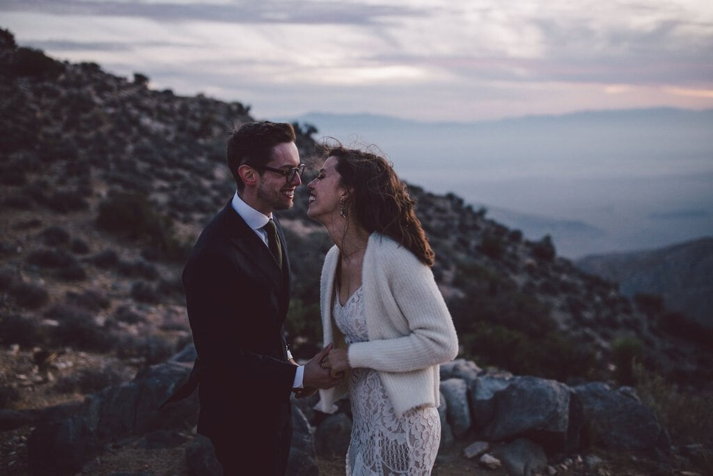 cap rock joshua tree california desert elopement wedding