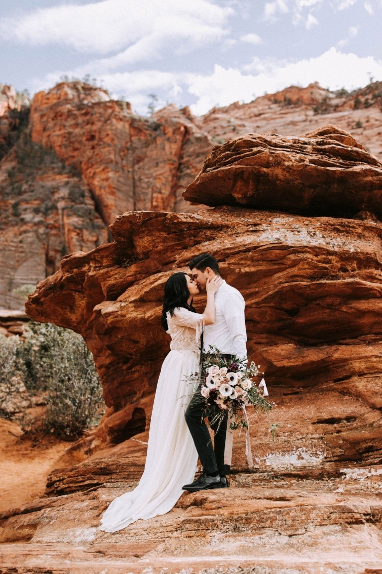 zion national park elopement inspiration adventure wedding utah
