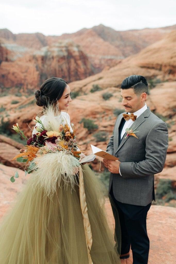 snow canyon desert elopement wedding utah