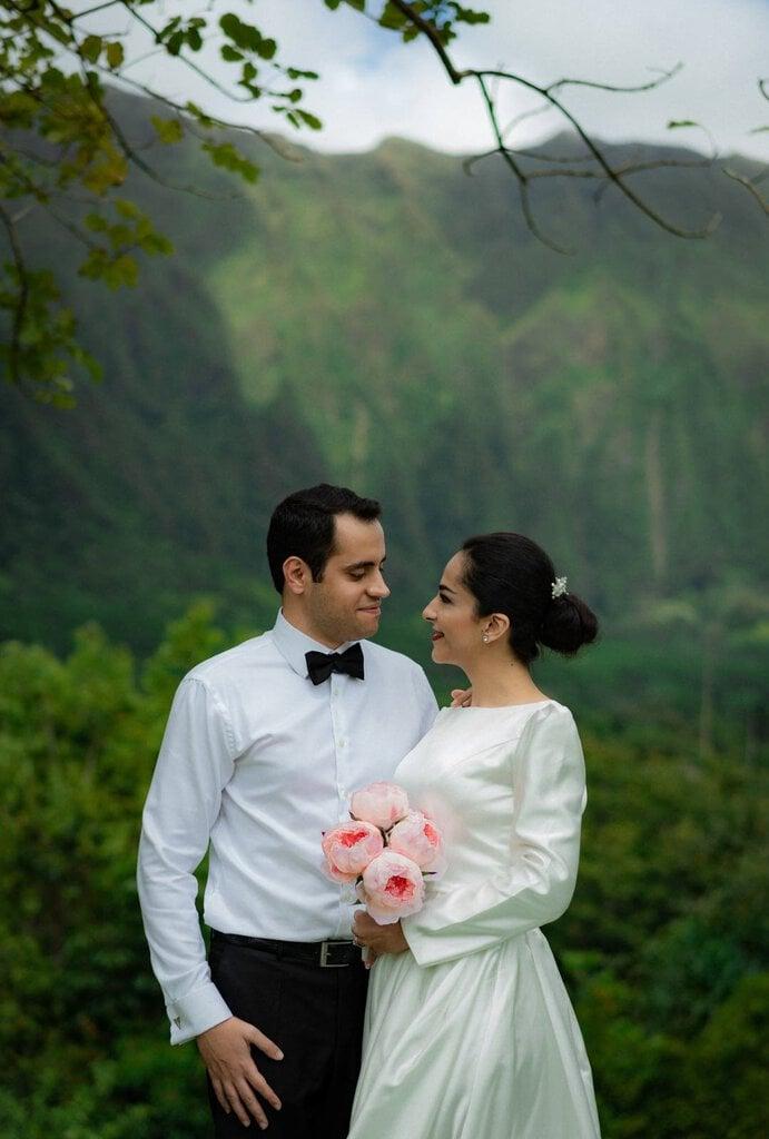 wedding portraits during Hawaii elopement.