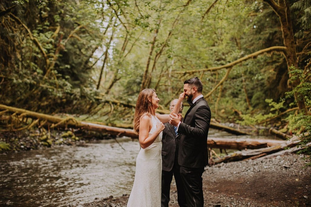 olympic peninsula lake crescent marymere falls washington forest elopement pnw wedding
