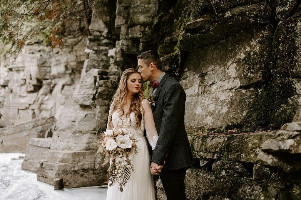 canyon falls trail michigan forest wedding